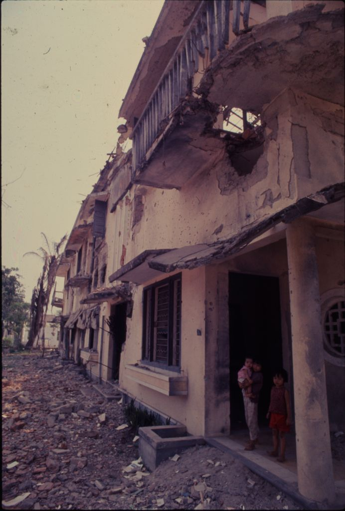 Untitled (Damaged Buildings And Debris In Street, Hue, Vietnam)
