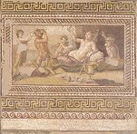 Mosaic depicting the drinking contest between Herakles and Dionysos.