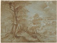 Wooded Landscape With A Distant View Toward The Sea