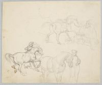 Studies Of Horses; Verso: Two Soldiers Carrying Wounded Comrades