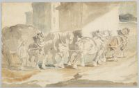 Coal Wagon Hauled By Seven Horses; Verso: Sketches Of Horses And A Cart