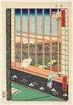 Asakusa Ricefields and Torinomachi Festival (Asakusa tanbo Torinomachi mōde), from the series One Hundred Famous Views of Edo (Meisho Edo hyakkei)