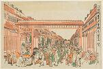 Perspective View of Shin Yoshiwara in the Evening (Uki-e Shin Yoshiwara yūgure zu)