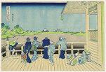 Sazai Hall of the Temple of the Five Hundred Arhats (Gohyaku Rakan-ji Sazaidō), from the series Thirty-Six Views of Mount Fuji (Fugaku sanjūrokkei)