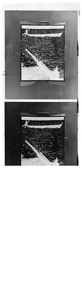 Untitled (Rephotograph Of Image Showing Tank In Foreground Against Water And Canoe In Background)