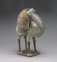 White-Colored Camel, From The Tomb Sculpture Set: Two Standing, Braying Camels, One Buff, One White, Their Backs Laden With Goods