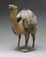 Buff-Colored Camel, From The Tomb Sculpture Set: Two Standing, Braying Camels, One Buff, One White, Their Backs Laden With Goods