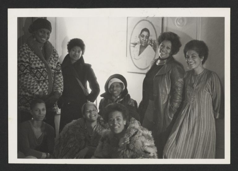 June Jordan, on far right, with Toni Morrison, Alice Walker, Nana Maynard, Ntzoke Shange, Vertamae Grosvenor and others