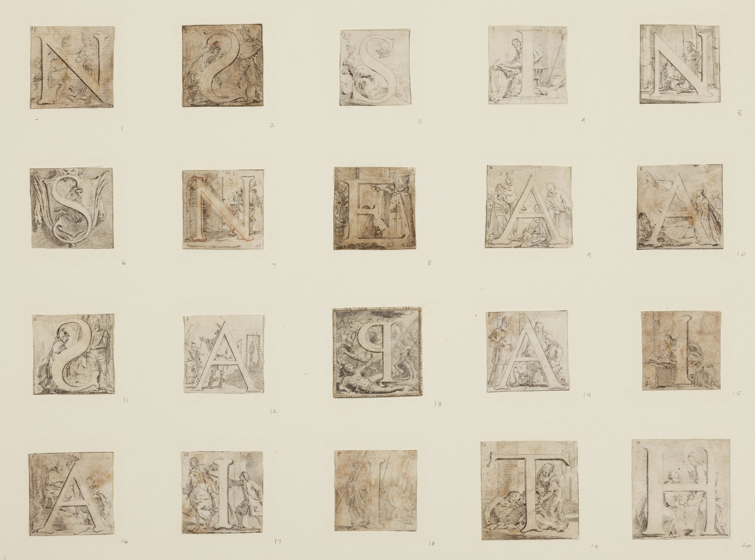 Historiated Initials (Twenty Separate Letters Matted Together)