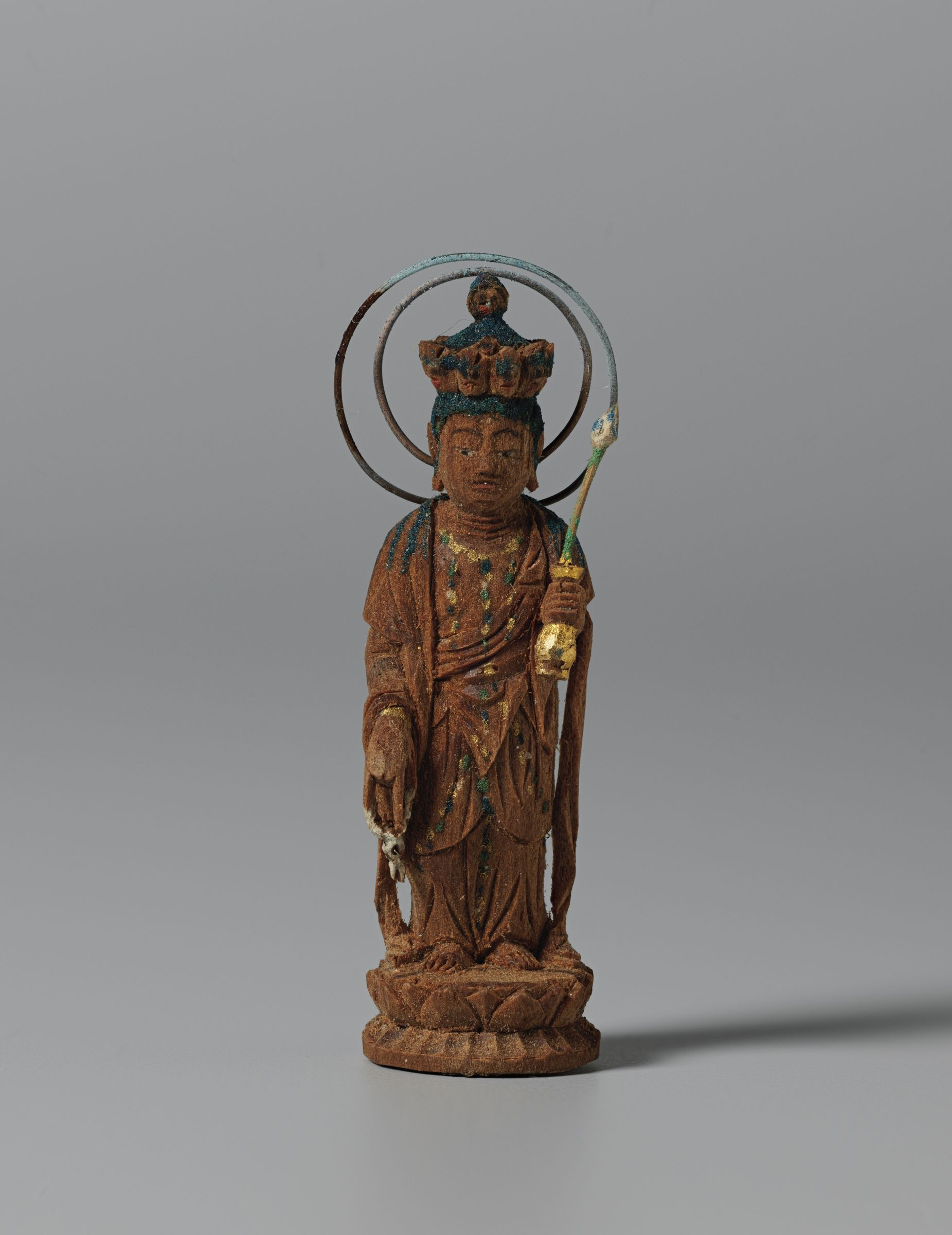 Small Image Of Eleven-Headed Avalokitesvara Bodhisattva (Japanese: Jūichimen Kannon) In A Cylindrical Shrine