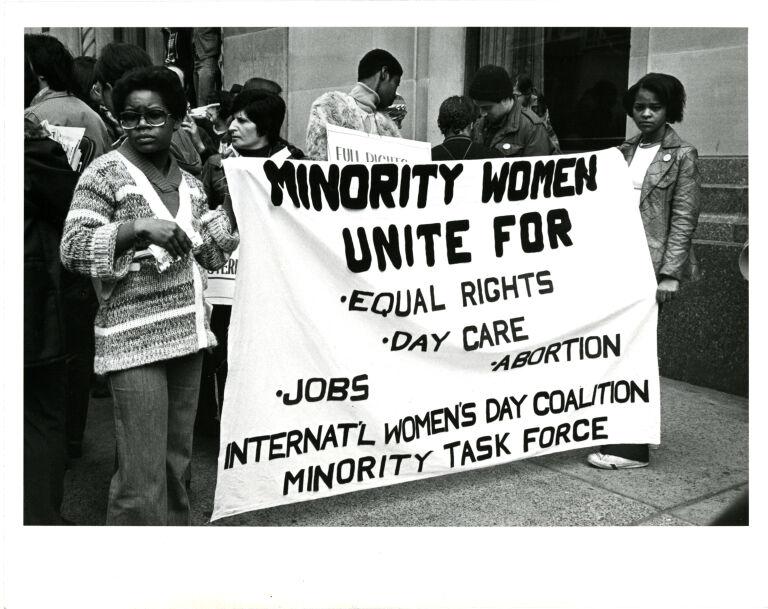Minority women taking part in International Women's Day march