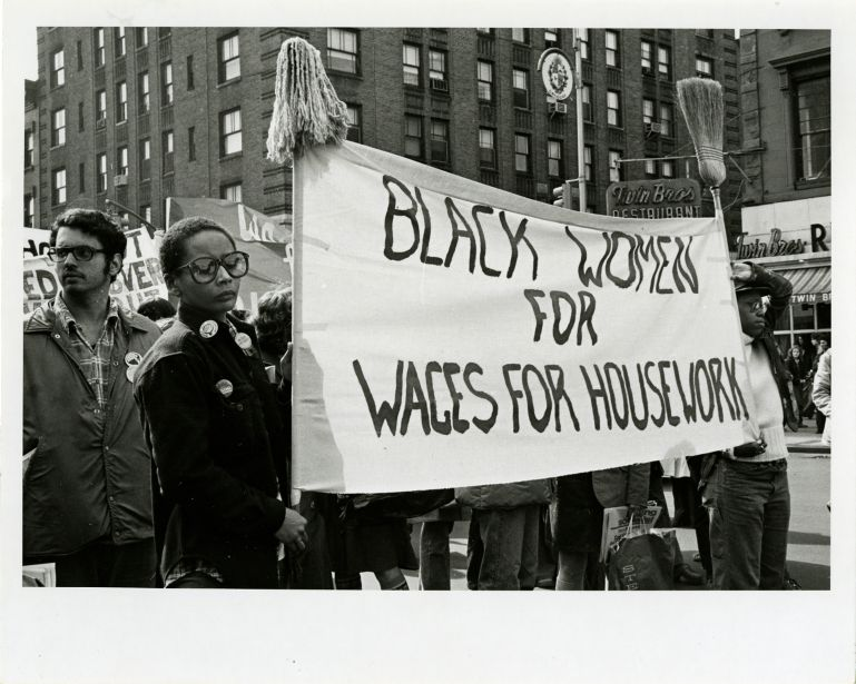 African-American women attending the International Women's Day rally