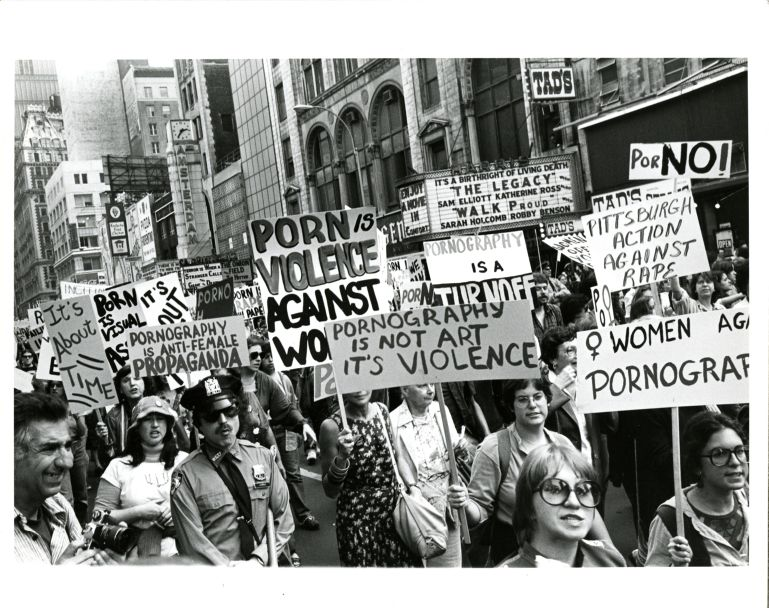 Marchers at anti-pornography rally.
