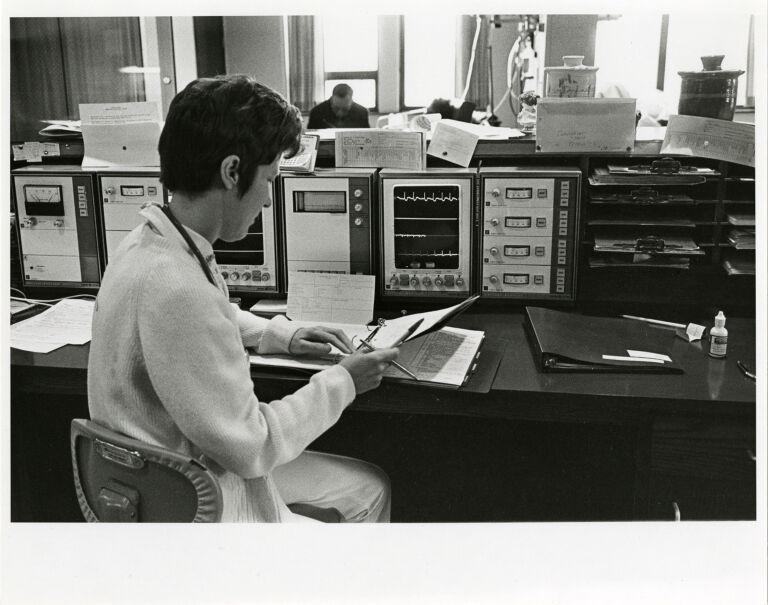 Women at work: nurse at monitoring station