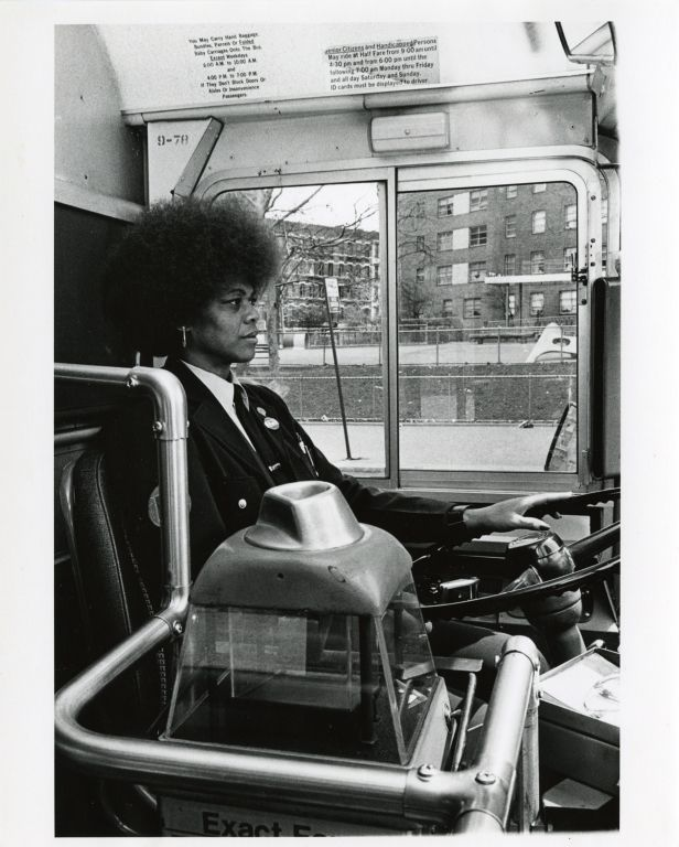 Women at work: New York City bus driver.