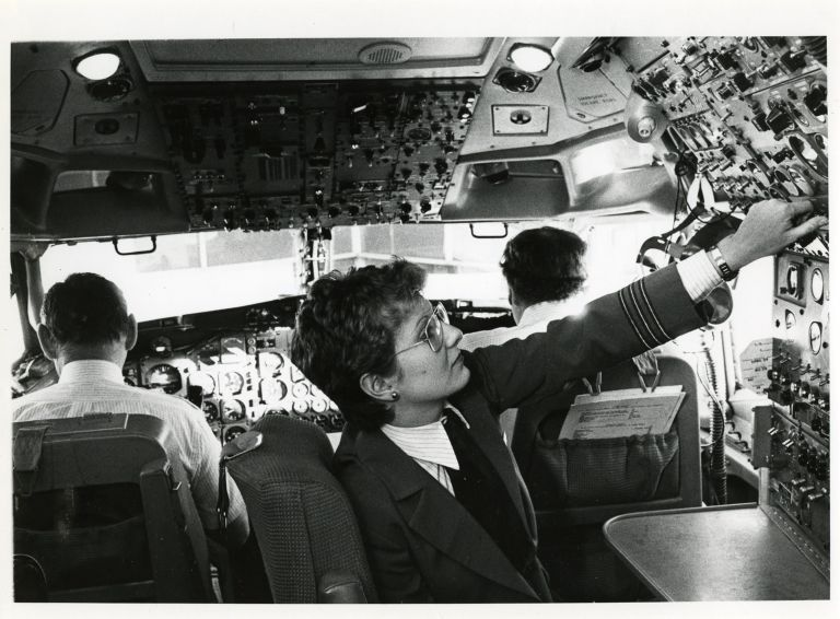 Women at work: flight engineer.