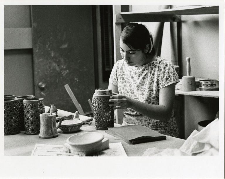 Women at work: pottery factory.