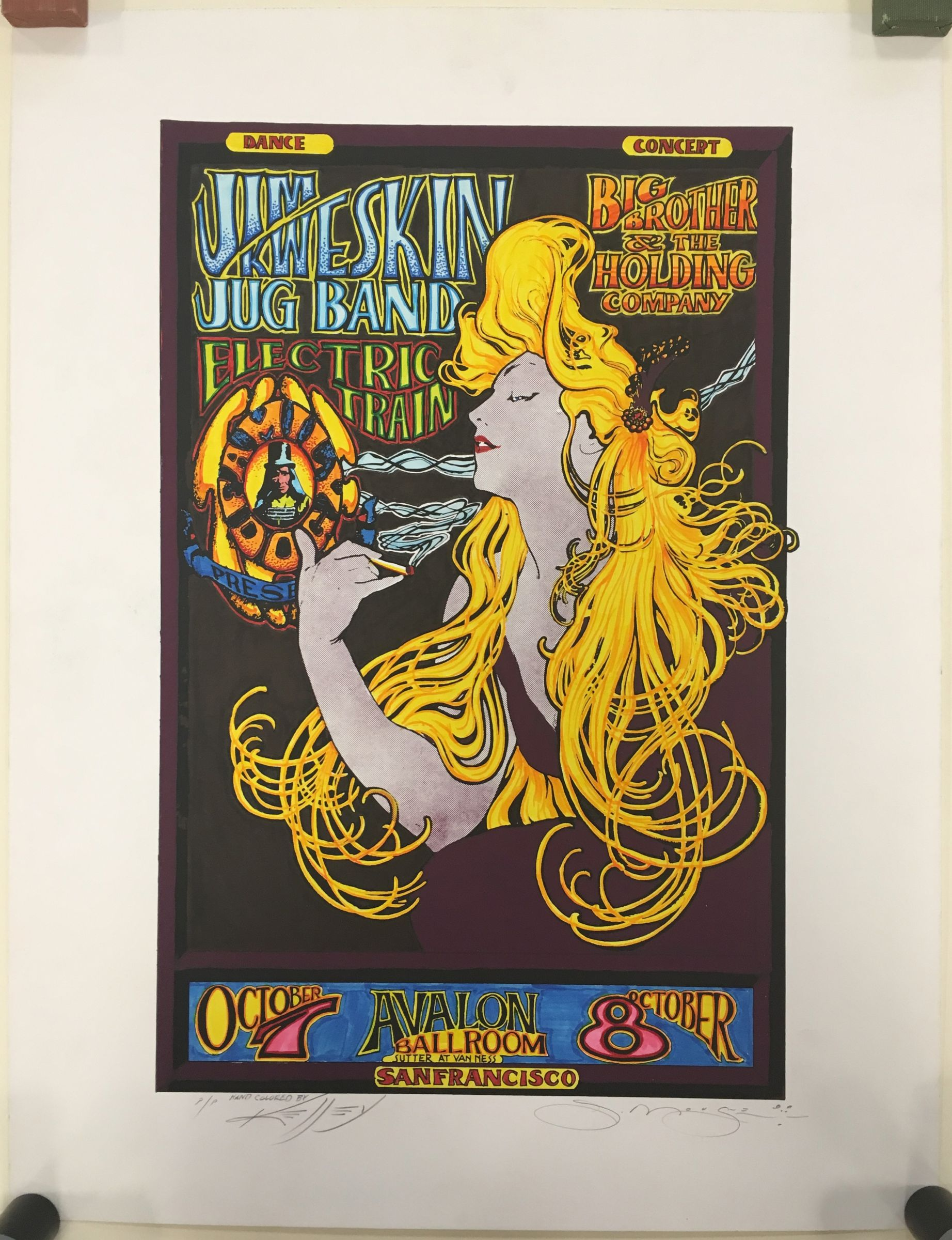Family dog presents Jim Kweskin Jug Band, Electric Train, Big Brother and the Holding Company, Avalon ballroom. Design by Mouse Studios, hand colored by Kelley : lithograph poster, undated