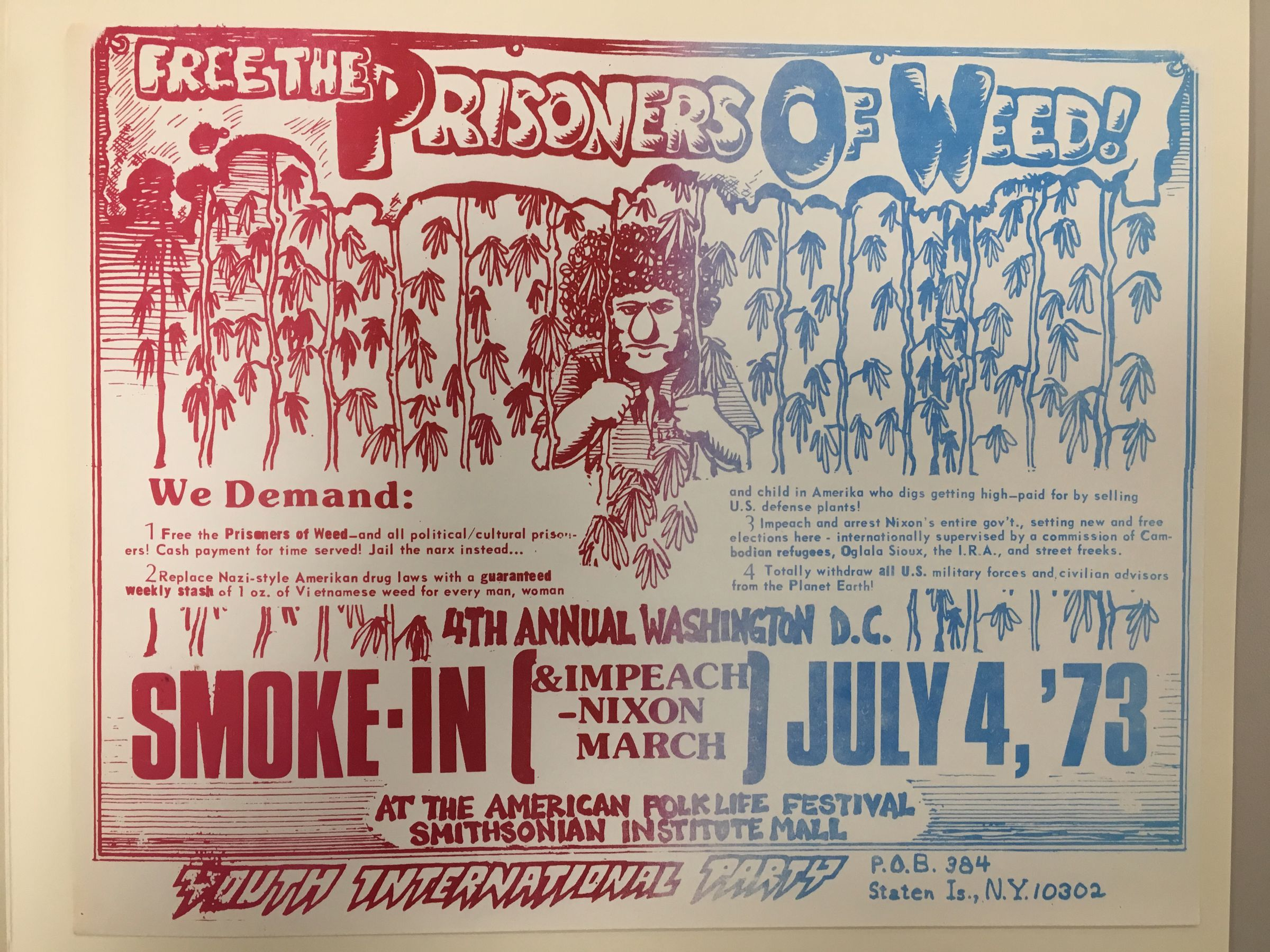Free the prisoners of weed! 4th annual Washington D.C. smoke-in & impeach Nixon march, Youth International Party : poster, 1973
