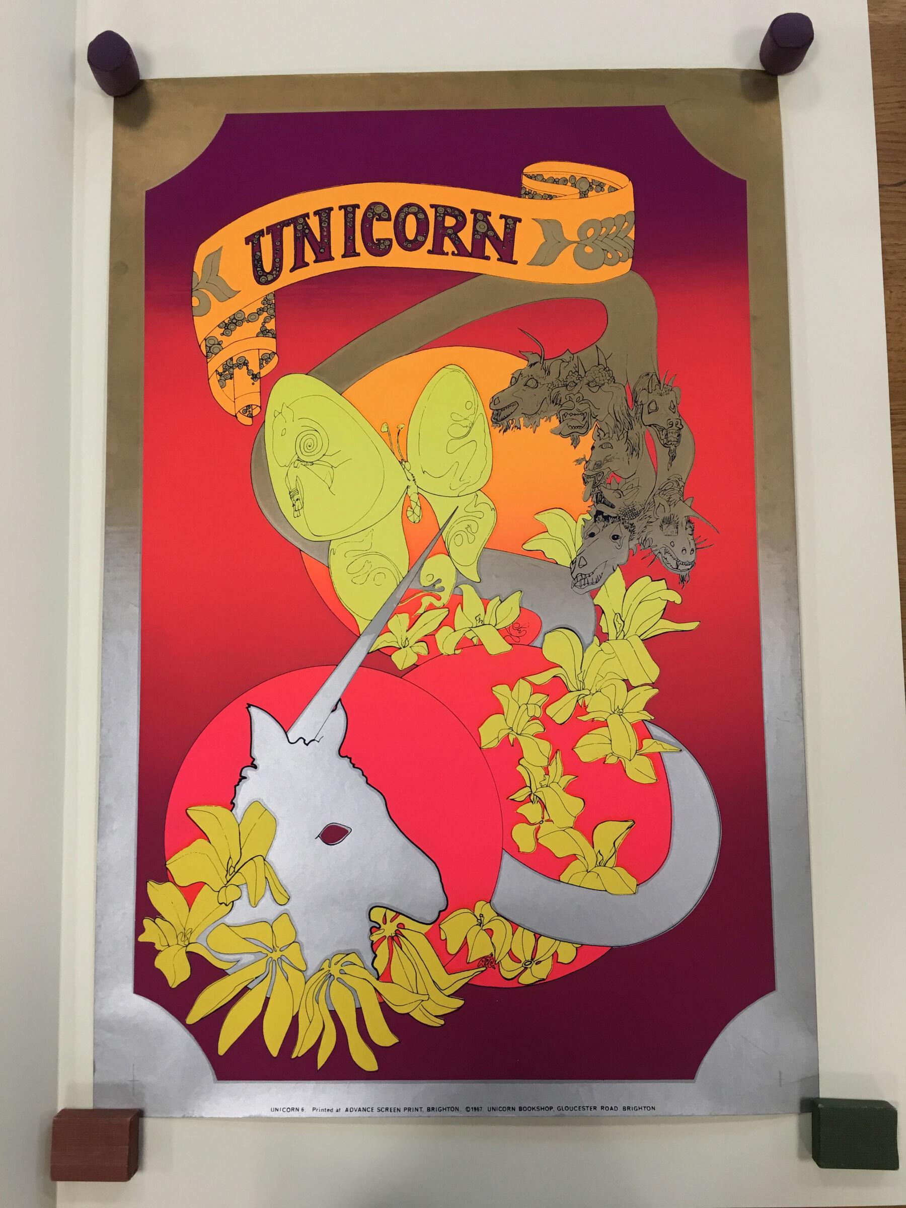 Unicorn, advance screen printing, Unicorn Bookshop, Brighton : silkscreen poster, 1967