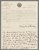 Letter from G.L. Goodale  to John Murdoch about installation of exhibit (1906 October 16) with additional note from March 1909 about framing for exhibit, 1906, 1909