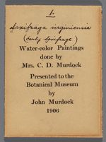"""Seventy three small exhibit labels with scientific name, common name, and watercolor painting number handwritten in black ink. Also includes printed text """"Water-color Paintings done by Mrs. C.D. Murdock [sic] Presented to the Botanical Museum by John Murdock [sic] 1906"""""""