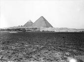 General view: Site: Giza; View: Giza, Khufu pyramid, Khafre pyramid