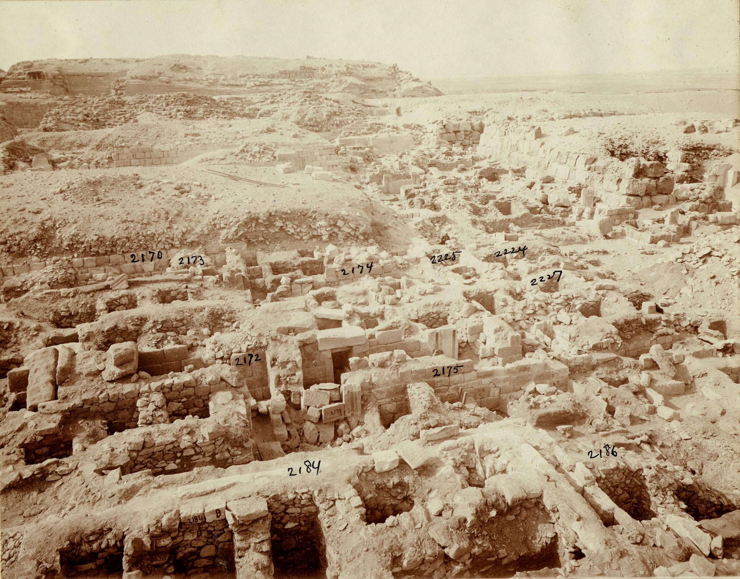 Western Cemetery: Site: Giza; View: G 2170, G 2184, G 2186, G 2172, G 2175, G 2177, G 2174, G 2173, G 2225, G 2224