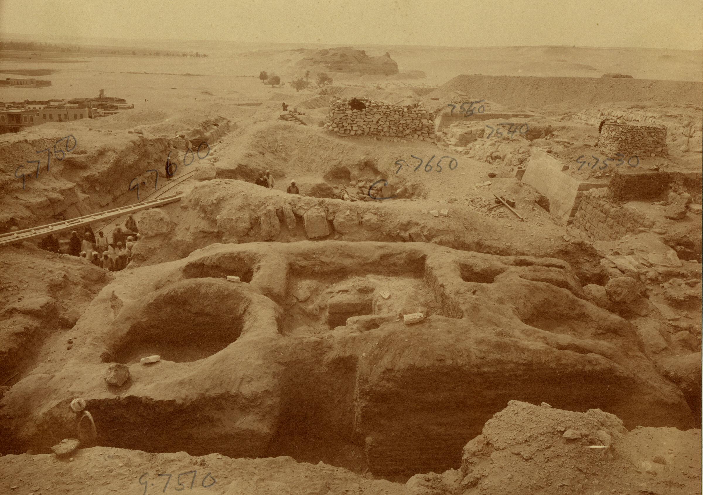 Eastern Cemetery: Site: Giza; View: G 7750, street G 7600, G 7650, G 7530-7540, G 7550