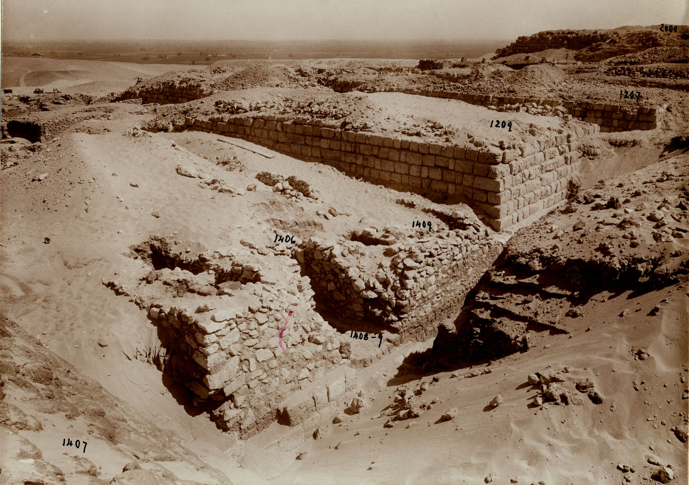 Western Cemetery: Site: Giza; View: G 1406, G 1407, G 1408+1409, G 1209
