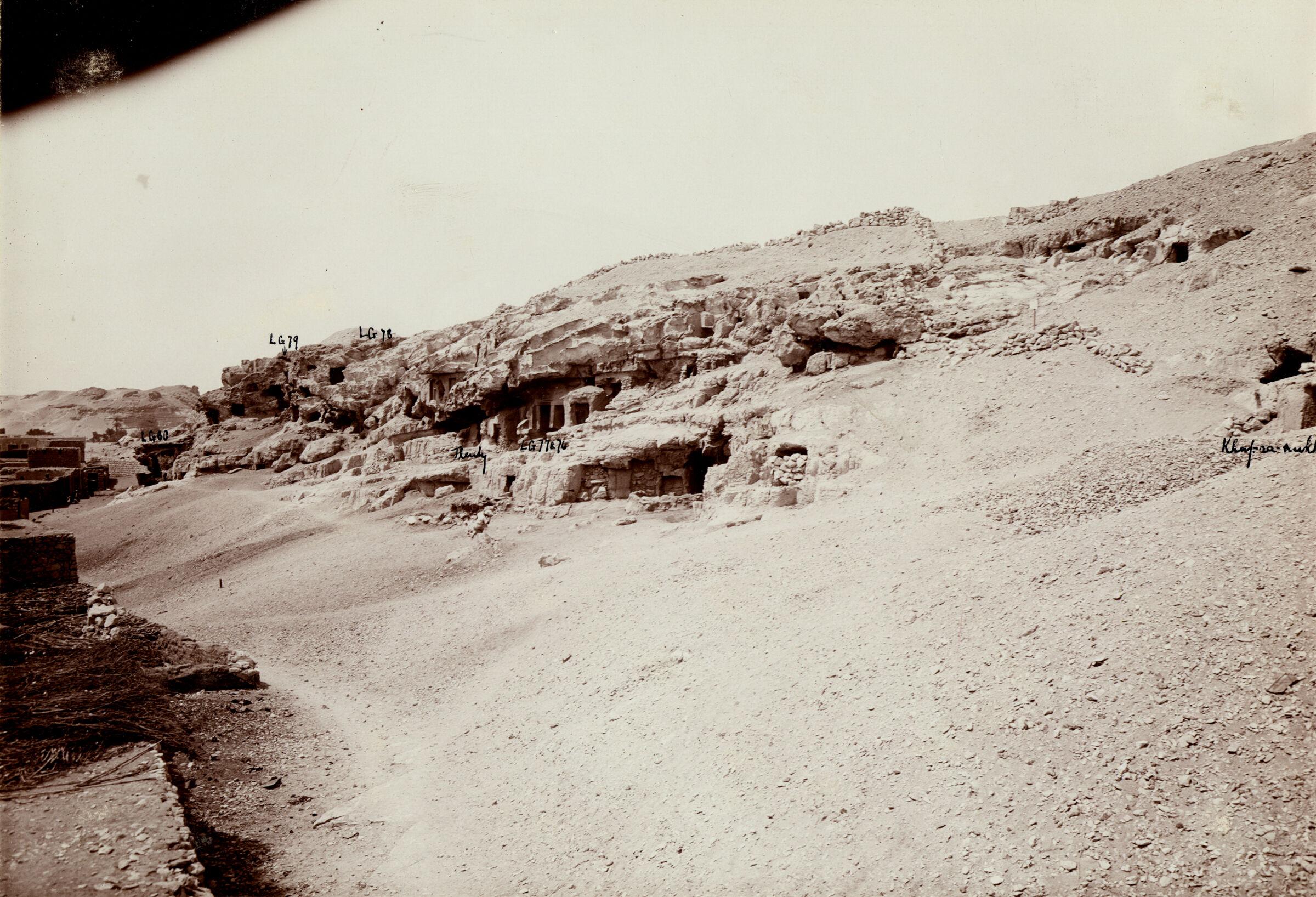 Eastern Cemetery: Site: Giza; View: Lepsius 76, Lepsius 77, Lepsius 78, Lepsius 79, Lepsius 80