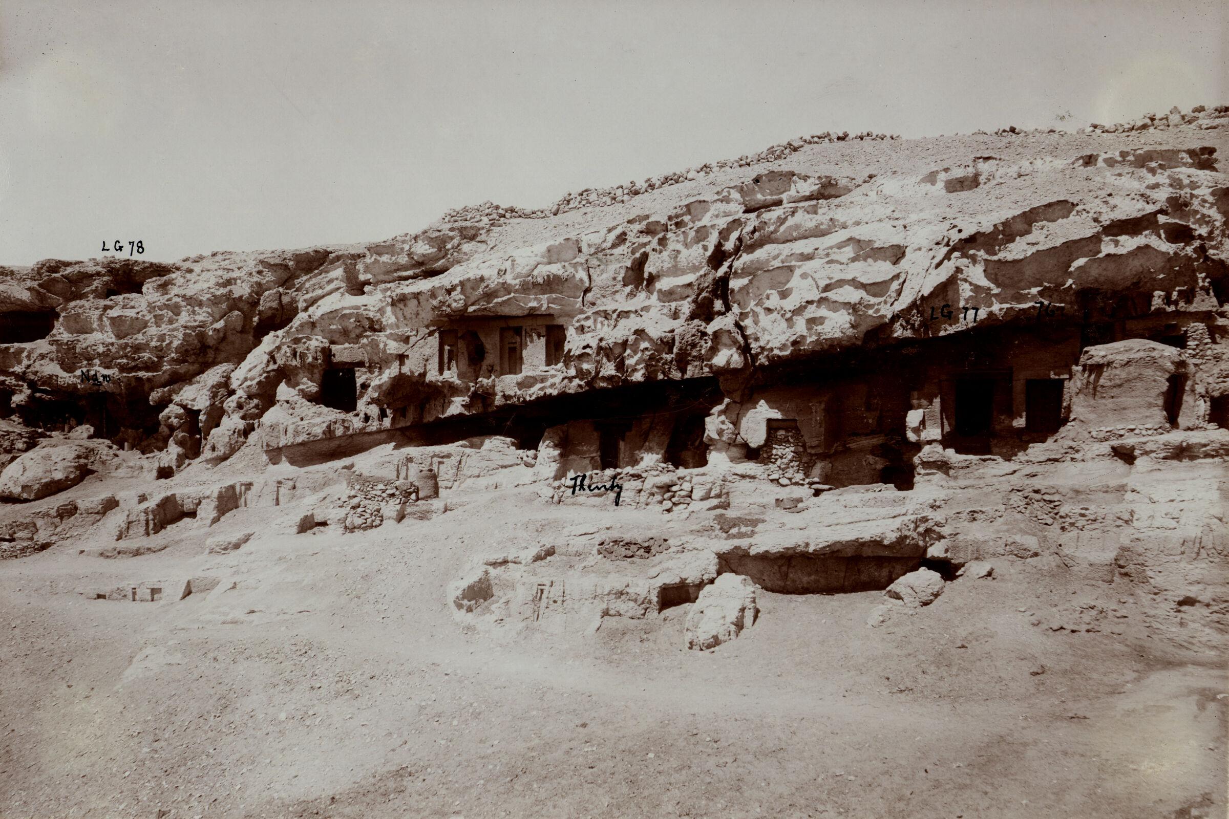 Eastern Cemetery: Site: Giza; View: Lepsius 76, Lepsius 77, Lepsius 78