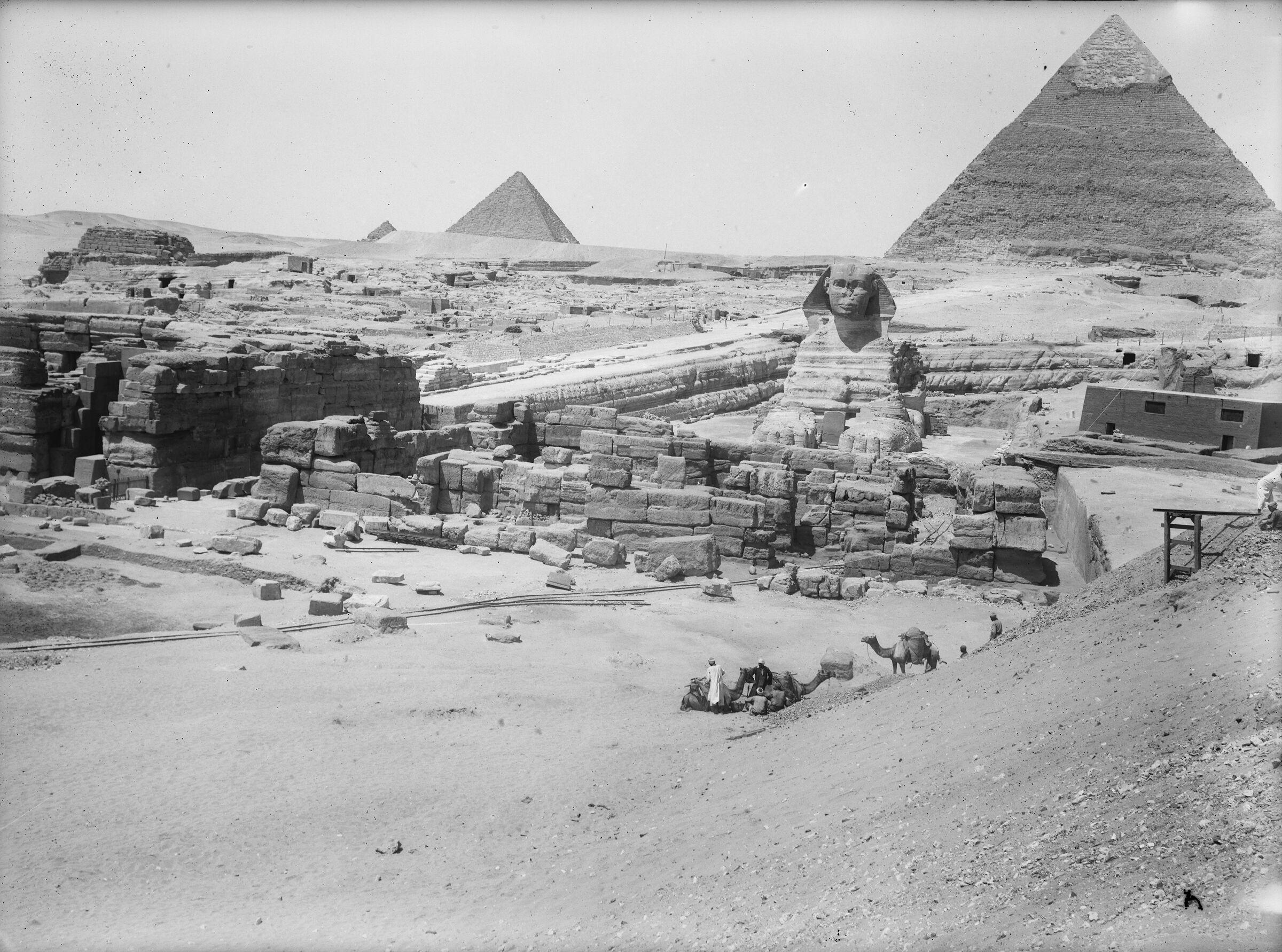 Sphinx Complex: Site: Giza; View: Sphinx, Sphinx temple, Khafre valley temple