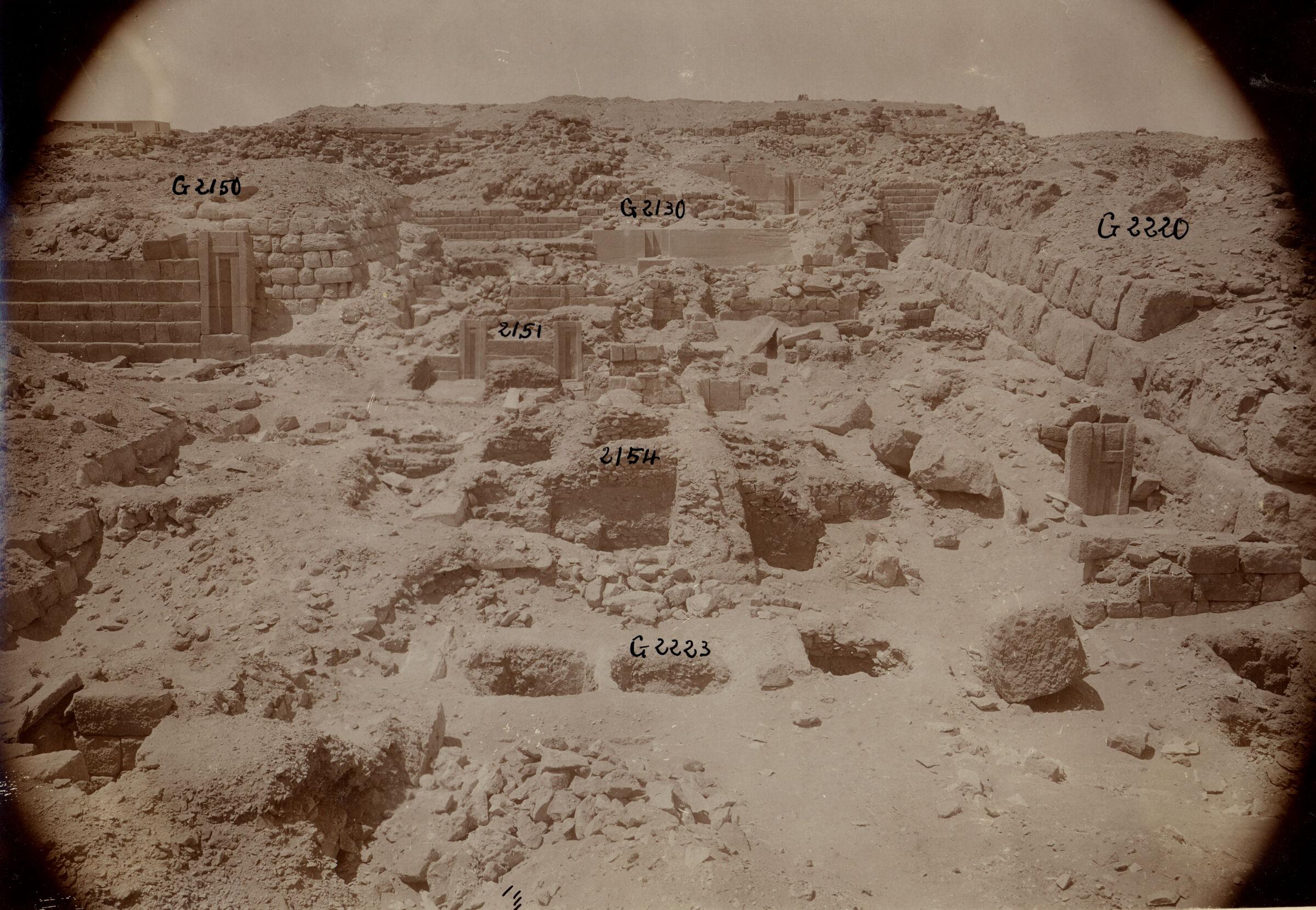 Western Cemetery: Site: Giza; View: G 2170, G 2150, G 2220, G 2223, G 2223a, G 2154, G 2154a, G 2151, G 2130