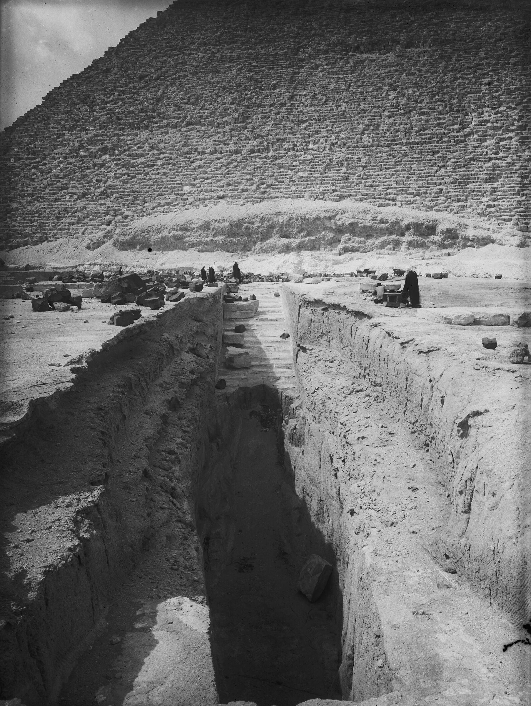 Khufu Pyramid Complex: Site: Giza; View: Khufu boat pits