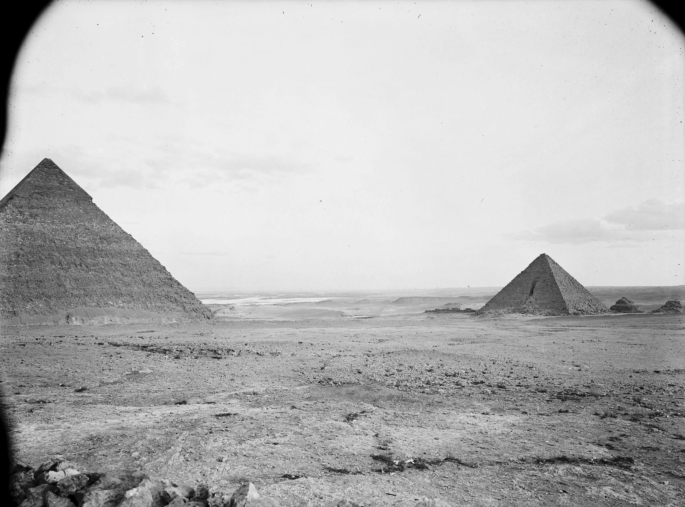 Menkaure Pyramid Complex: Site: Giza; View: Khafre pyramid, Menkaure pyramid