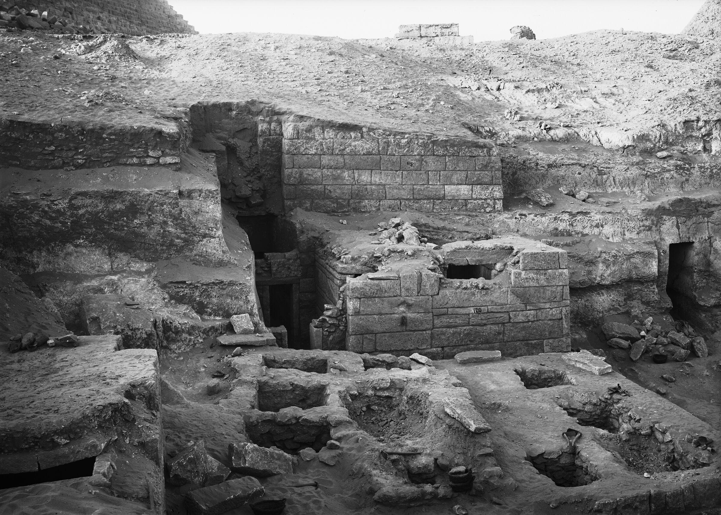 Menkaure Quarry Cemetery: Site: Giza; View: MQ 134, MQ 135, MQ 120, MQ 105, MQ 124, MQ 121, MQ 123
