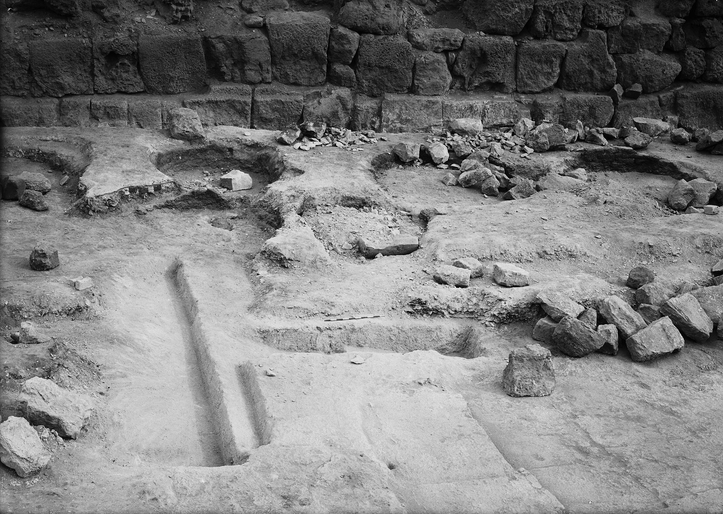 Khufu Pyramid Complex: Site: Giza; View: street G 7000, G I-a, bin 139, bin 140, bin 141, bin 142