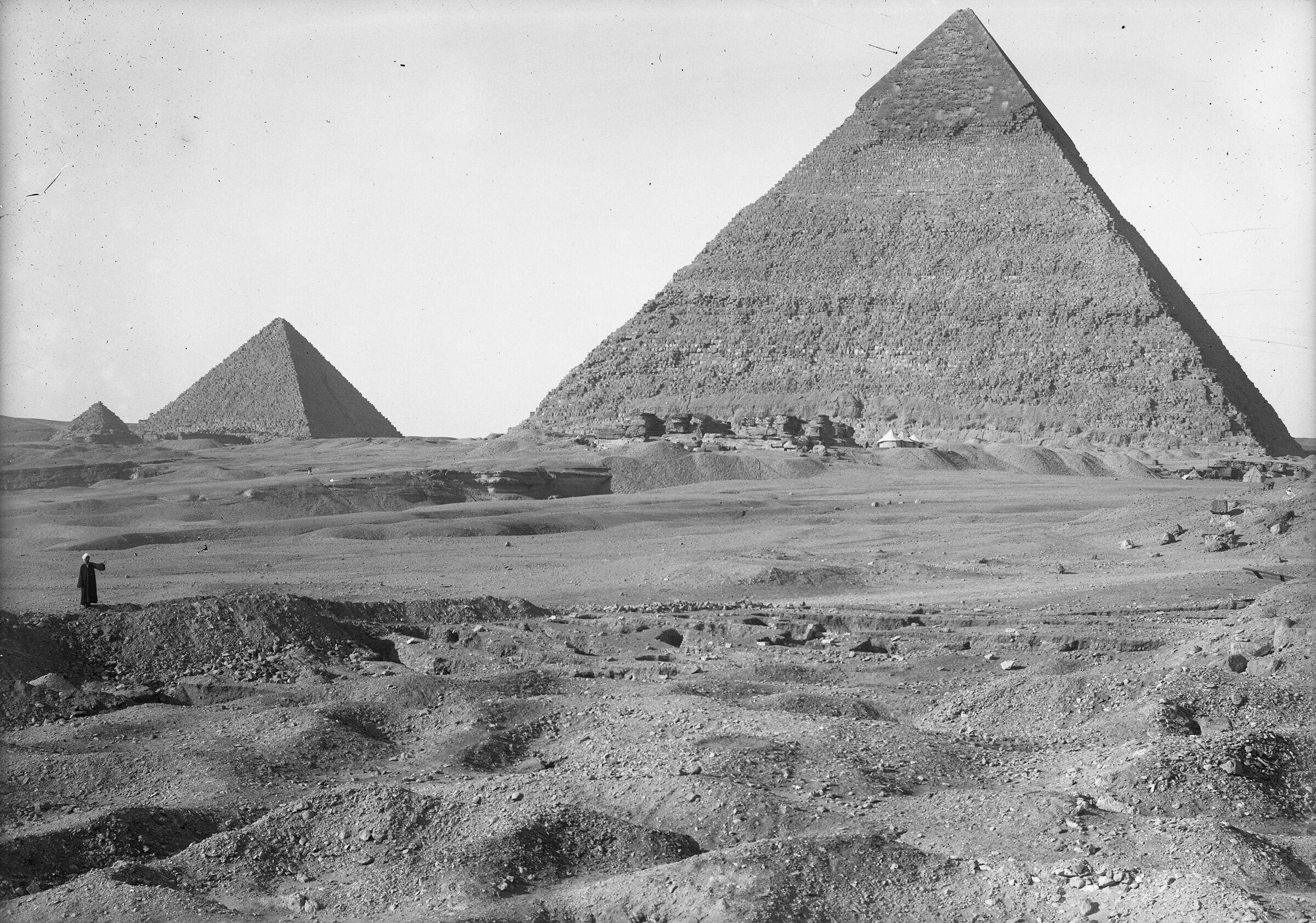 Eastern Cemetery: Site: Giza; View: Khafre pyramid, Menkaure pyramid