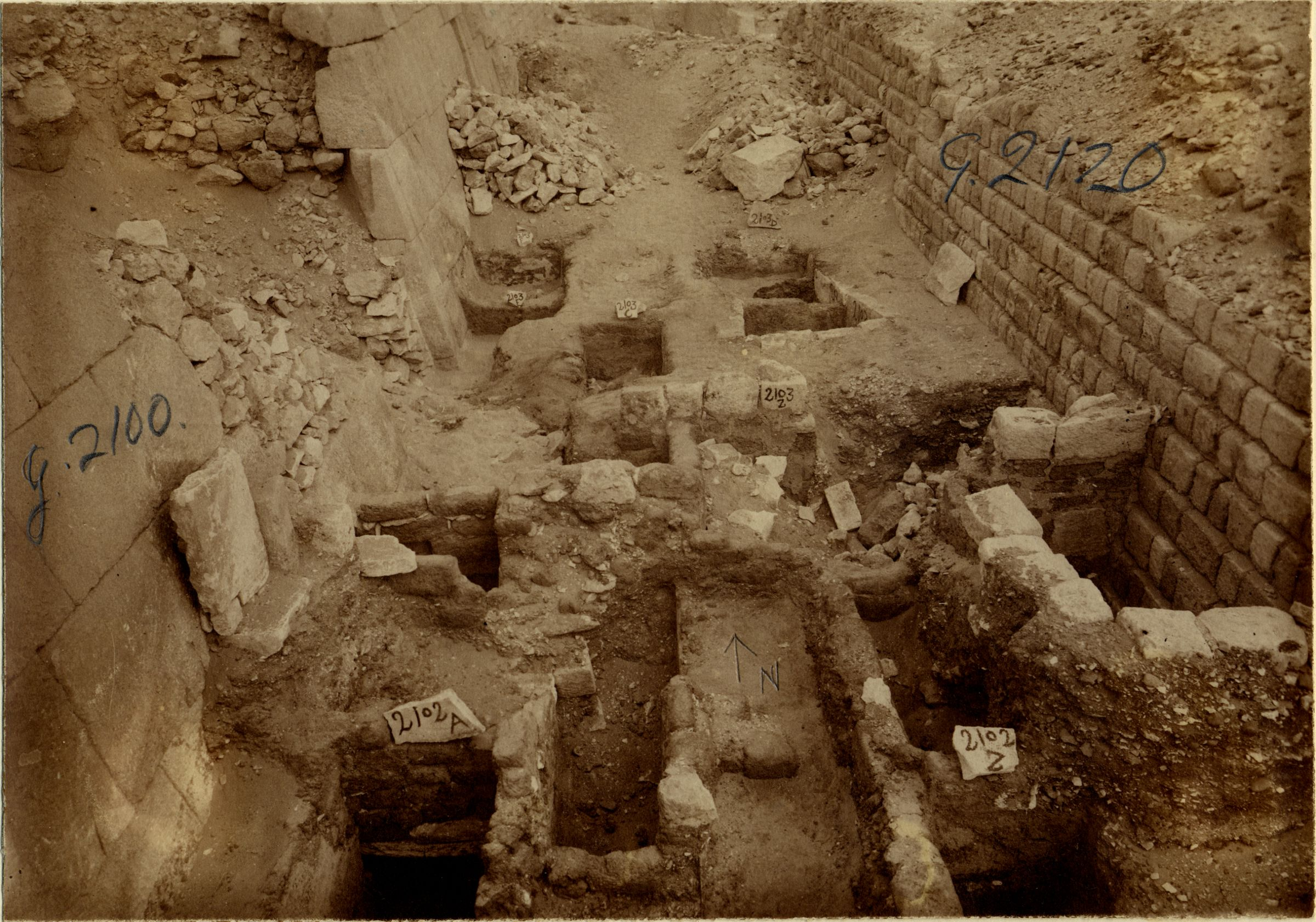 Western Cemetery: Site: Giza; View: G 2100-I, G 2120, G 2103, G 2102