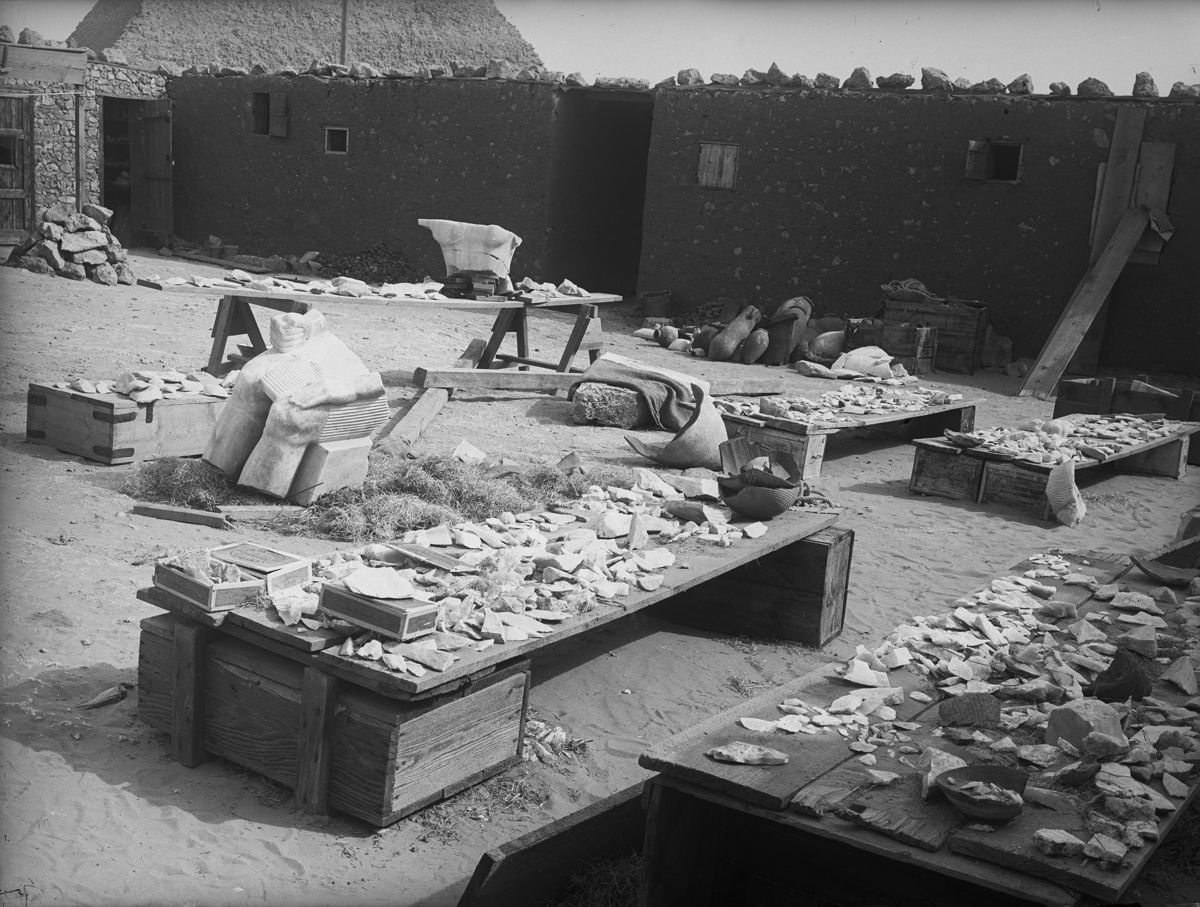 People & places: Site: Giza; View: Giza, Harvard Camp