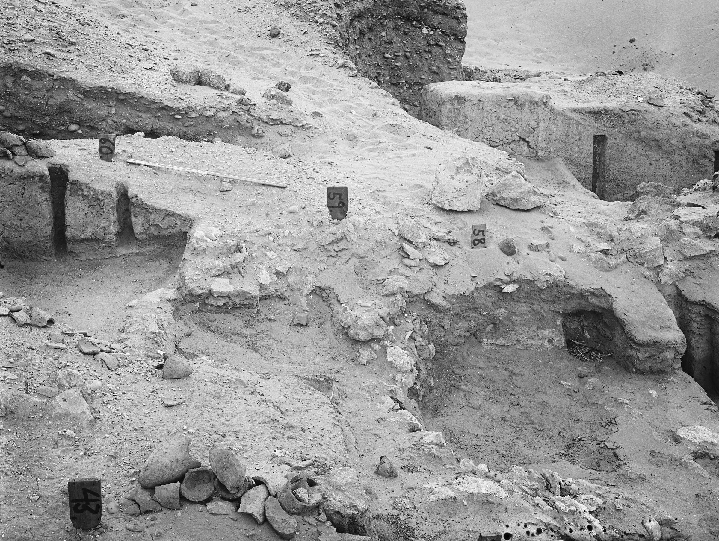 Wadi Cemetery (Reisner; north of W. Cem): Site: Giza; View: GW 43, GW 58, GW 59, GW 60, GW 62, GW 63