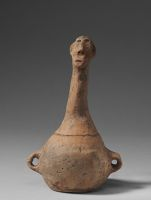 Miniature Covered Jar With Two Loop Handles, The Tall Cover With Finial In The Form Of A Stylized Human Head