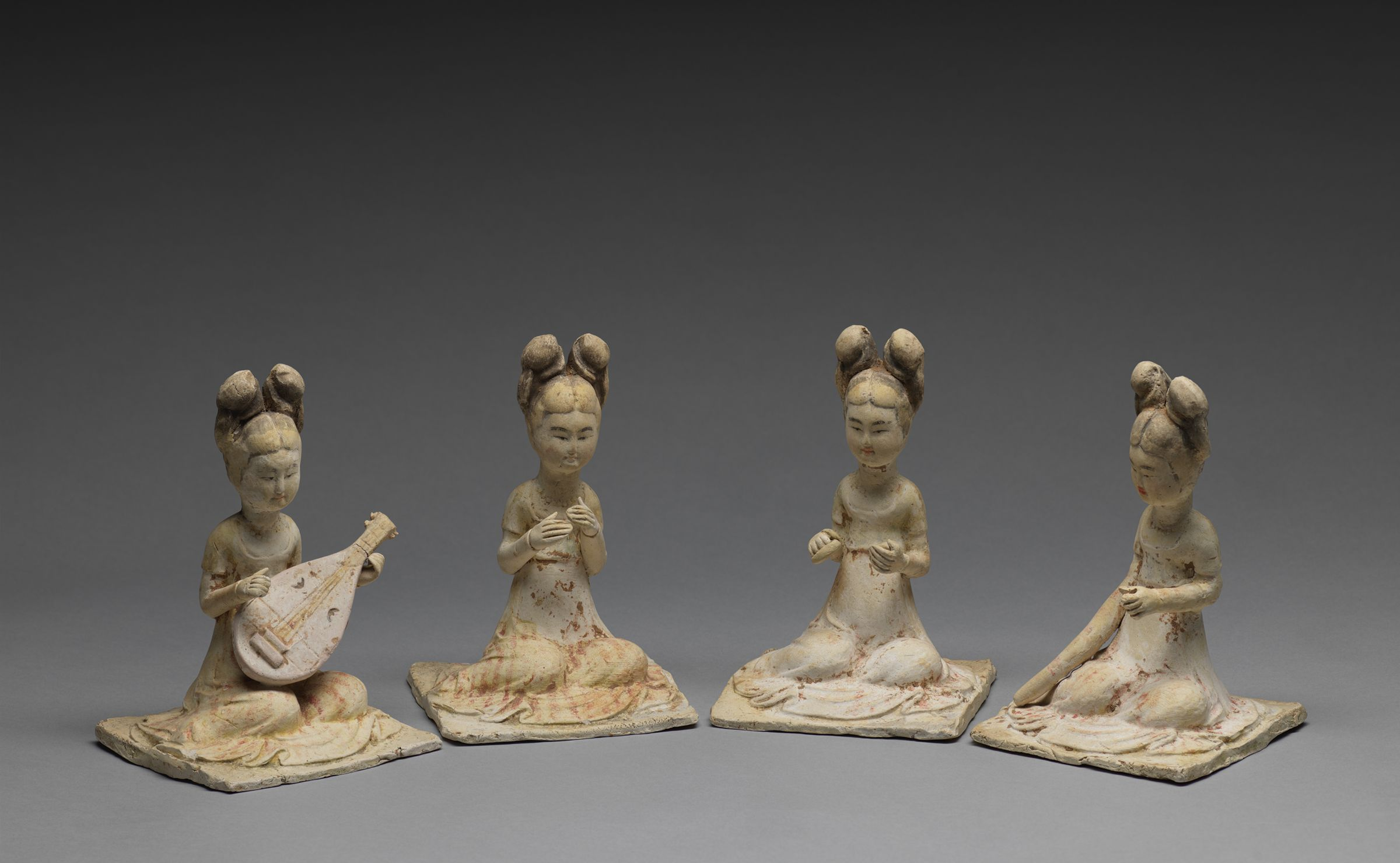 Four Kneeling, Female Court Musicians (One With A 'Pipa', Or Lute, And One With Cymbals), Each Of The Four With A High-Waisted, Striped Dress Or Skirt And With Long Hair Arranged In Two Buns