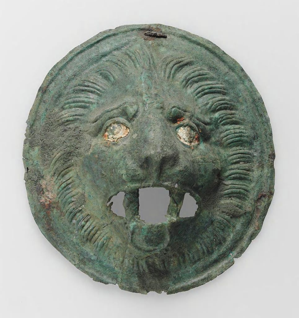 Pair Of Circular Lion-Head Relief Attachments
