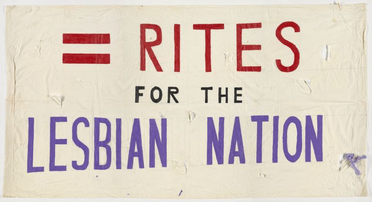 """Lesbian rights banner. White with hand-painted red, black, and purple text, """"= Rights for the Lesbian Nation."""""""