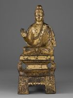 Buddha In Abhaya-Mudra Seated On A Lion Throne