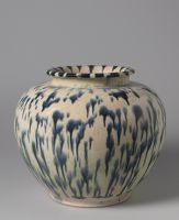 Ovoid Jar With Short, Flaring Neck And Blue-Splashed Glaze
