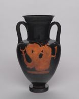 Neck Amphora (storage jar): Nereus (or Triton) with Scepter and Dolphin; Woman Running