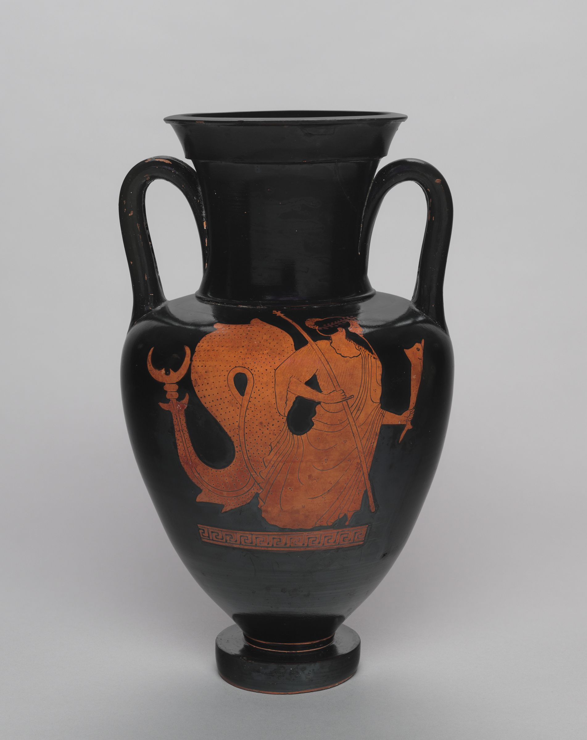 Neck Amphora (Storage Jar): Triton With Scepter And Dolphin; Woman Running